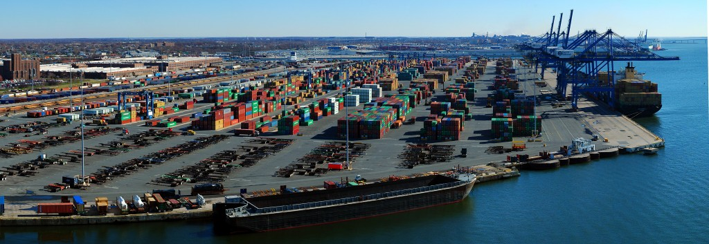 De containerhaven van Baltimore